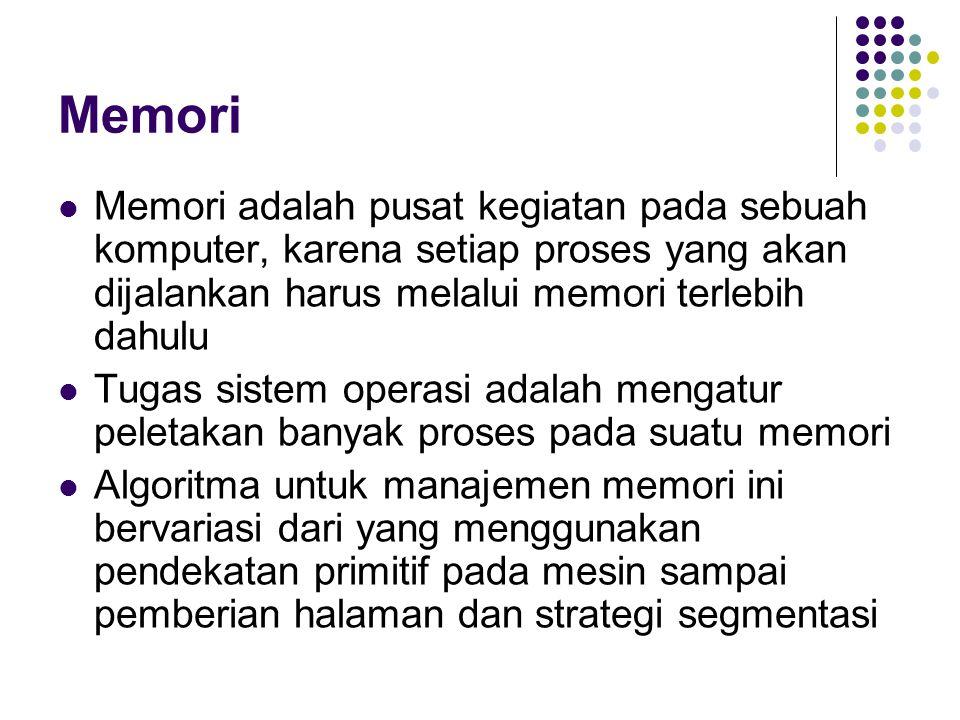 Memori Memori adalah pusat kegiatan pada sebuah komputer, karena setiap proses yang akan dijalankan harus melalui memori terlebih dahulu Tugas sistem operasi adalah mengatur peletakan banyak proses pada suatu memori Algoritma untuk manajemen memori ini bervariasi dari yang menggunakan pendekatan primitif pada mesin sampai pemberian halaman dan strategi segmentasi