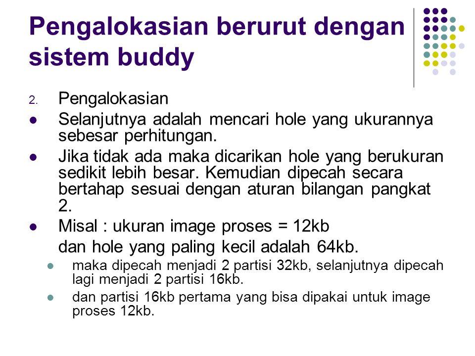 Pengalokasian berurut dengan sistem buddy 2. Pengalokasian Selanjutnya adalah mencari hole yang ukurannya sebesar perhitungan. Jika tidak ada maka dic