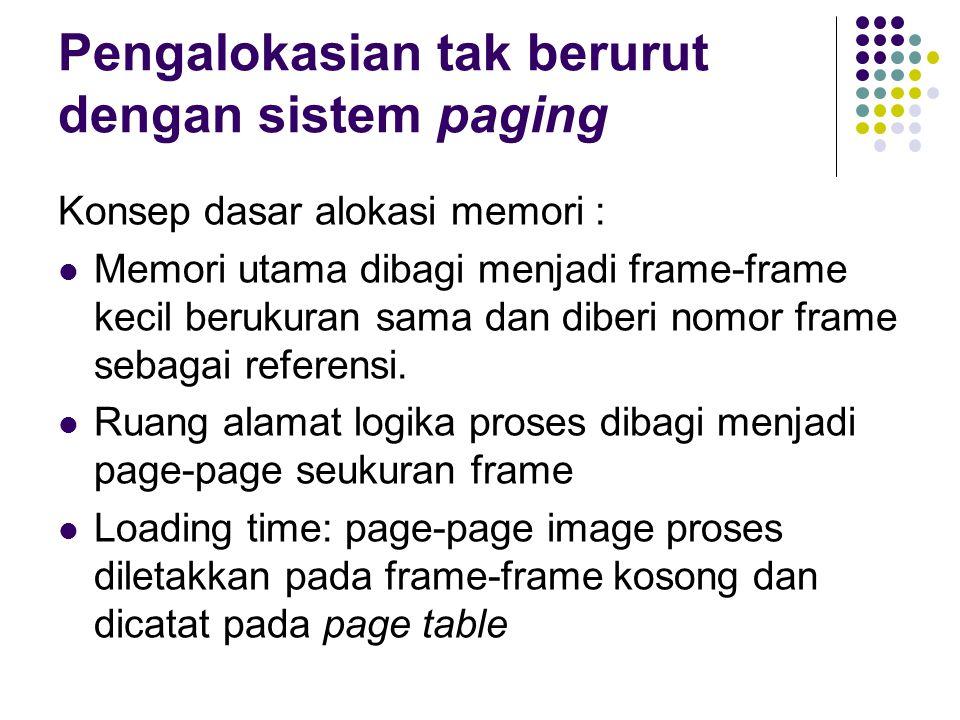 Pengalokasian tak berurut dengan sistem paging Konsep dasar alokasi memori : Memori utama dibagi menjadi frame-frame kecil berukuran sama dan diberi nomor frame sebagai referensi.