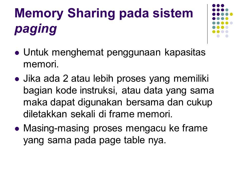 Memory Sharing pada sistem paging Untuk menghemat penggunaan kapasitas memori. Jika ada 2 atau lebih proses yang memiliki bagian kode instruksi, atau
