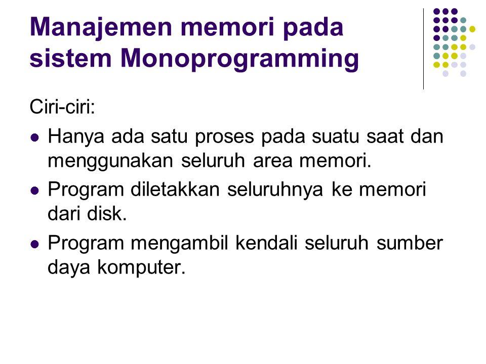 Manajemen memori pada sistem Monoprogramming Ciri-ciri: Hanya ada satu proses pada suatu saat dan menggunakan seluruh area memori. Program diletakkan