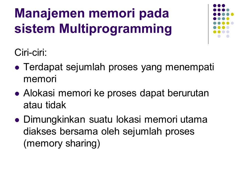 Manajemen memori pada sistem Multiprogramming Ciri-ciri: Terdapat sejumlah proses yang menempati memori Alokasi memori ke proses dapat berurutan atau