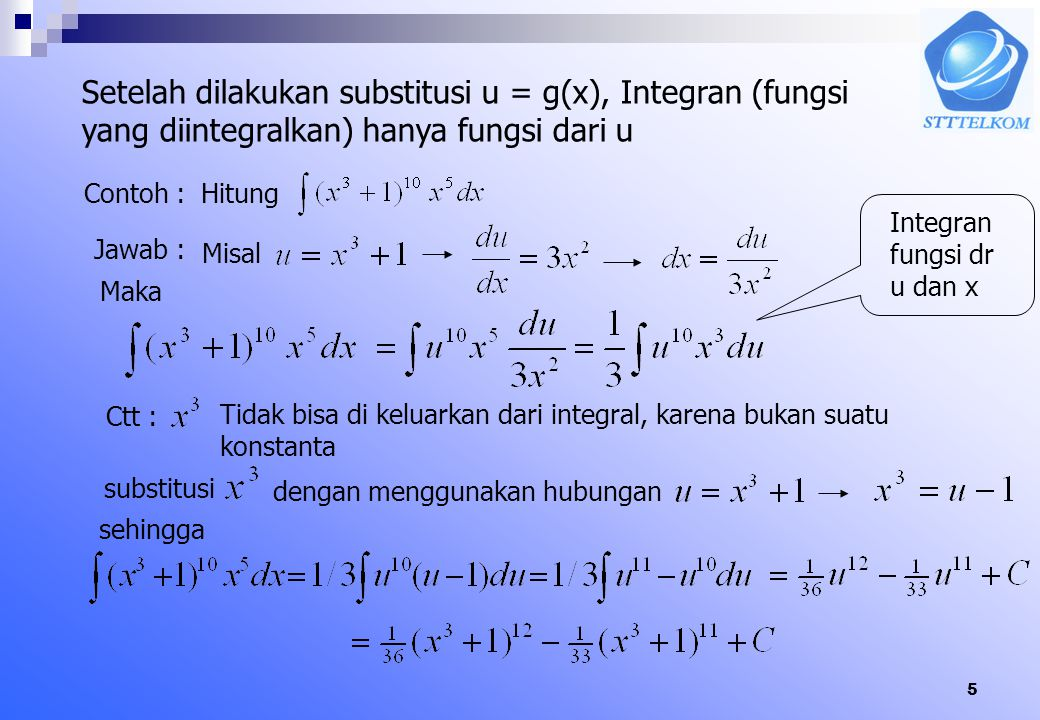 5 Setelah dilakukan substitusi u = g(x), Integran (fungsi yang diintegralkan) hanya fungsi dari u Contoh :Hitung Jawab : Misal Maka Integran fungsi dr u dan x Ctt : Tidak bisa di keluarkan dari integral, karena bukan suatu konstanta substitusi dengan menggunakan hubungan sehingga