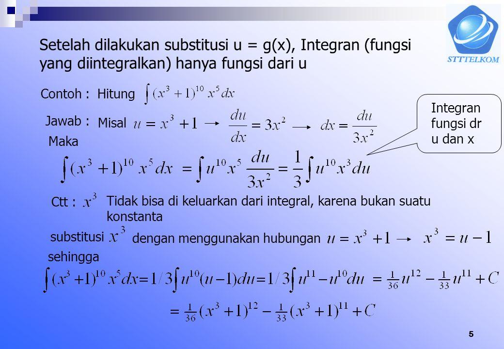 15 6.6.2 TDK II (Pendiferensialan Integral Tentu) Jika fungsi f kontinu pada [a,b], dan x sebuah (variabel) titik dalam [a,b], maka Bukti: Misalkan F anti turunan dari f.