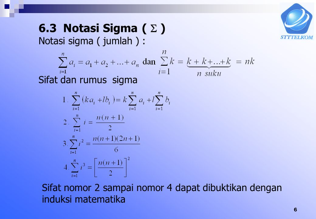 5 Setelah dilakukan substitusi u = g(x), Integran (fungsi yang diintegralkan) hanya fungsi dari u Contoh :Hitung Jawab : Misal Maka Integran fungsi dr