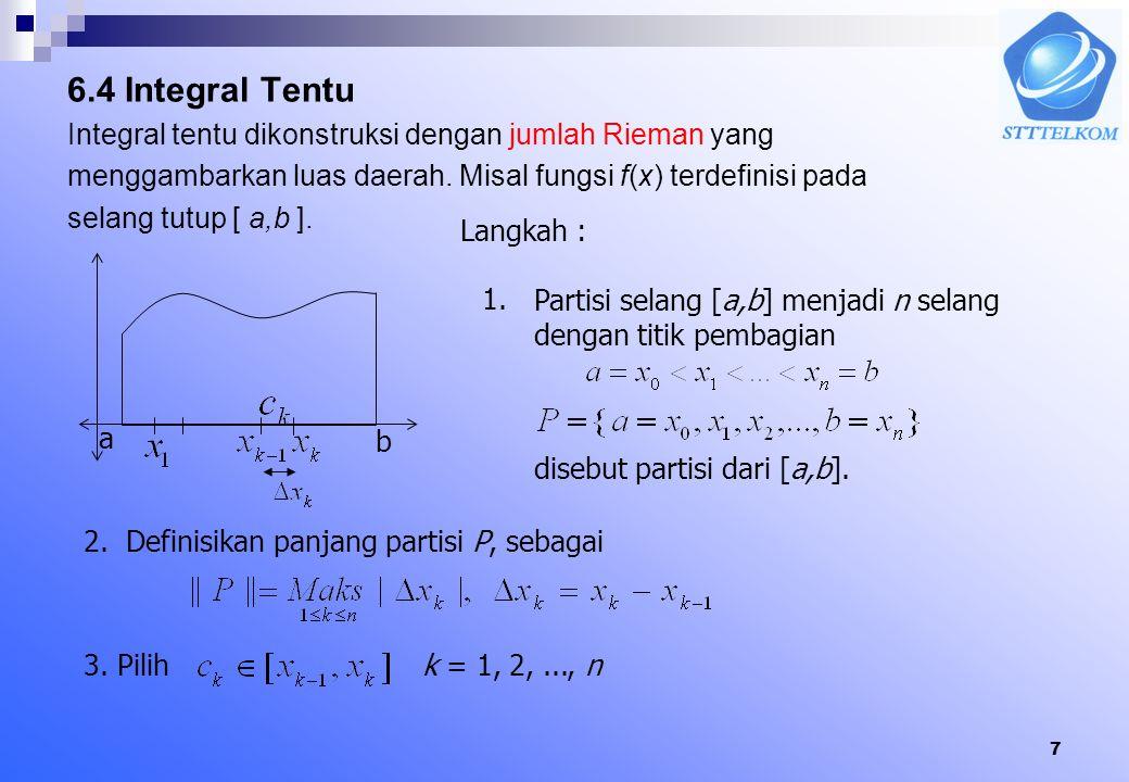 7 6.4 Integral Tentu Integral tentu dikonstruksi dengan jumlah Rieman yang menggambarkan luas daerah.