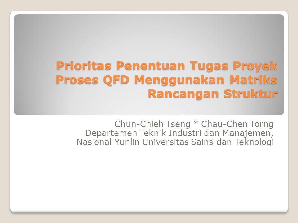Prioritas Penentuan Tugas Proyek Proses QFD Menggunakan Matriks Rancangan Struktur Chun-Chieh Tseng * Chau-Chen Torng Departemen Teknik Industri dan M