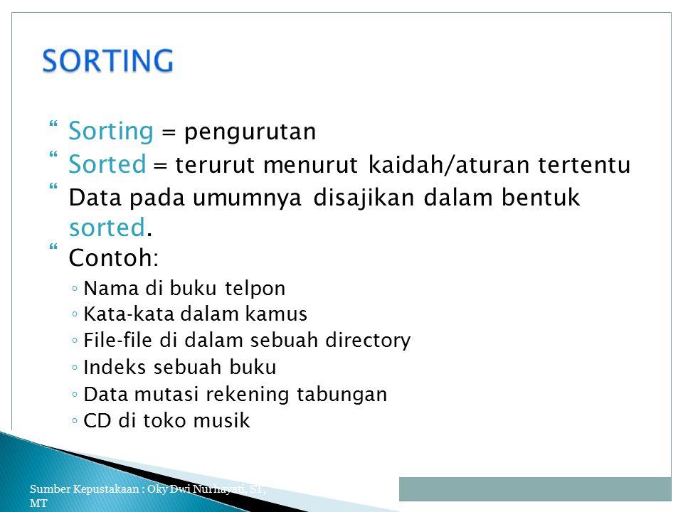  Sorting = pengurutan Sorted = terurut menurut kaidah/aturan tertentu Data pada umumnya disajikan dalam bentuk sorted.