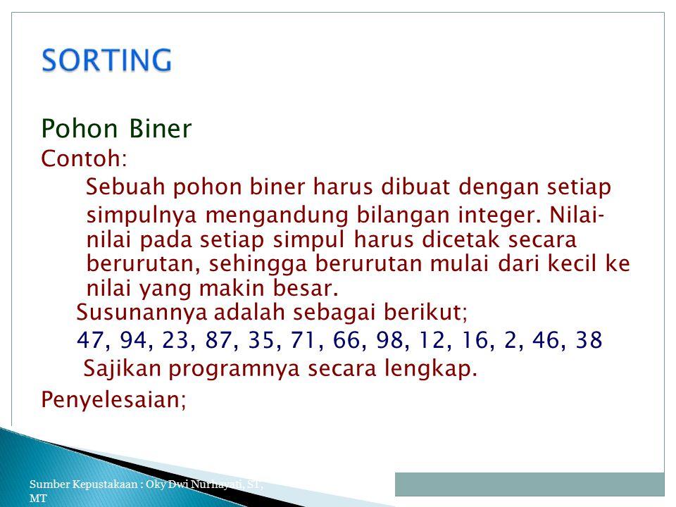 Pohon Biner Contoh: Sebuah pohon biner harus dibuat dengan setiap simpulnya mengandung bilangan integer.