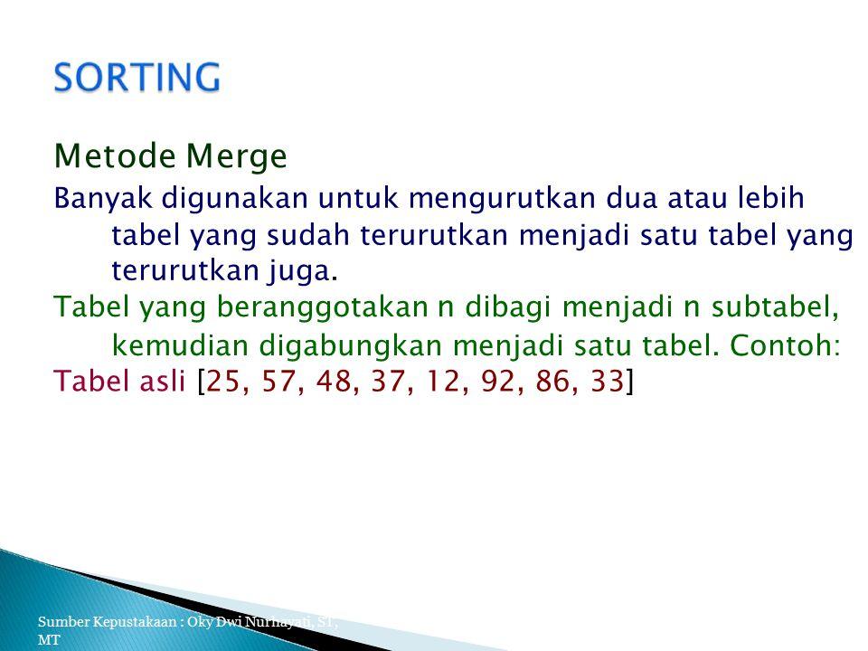 Metode Merge Banyak digunakan untuk mengurutkan dua atau lebih tabel yang sudah terurutkan menjadi satu tabel yang terurutkan juga.