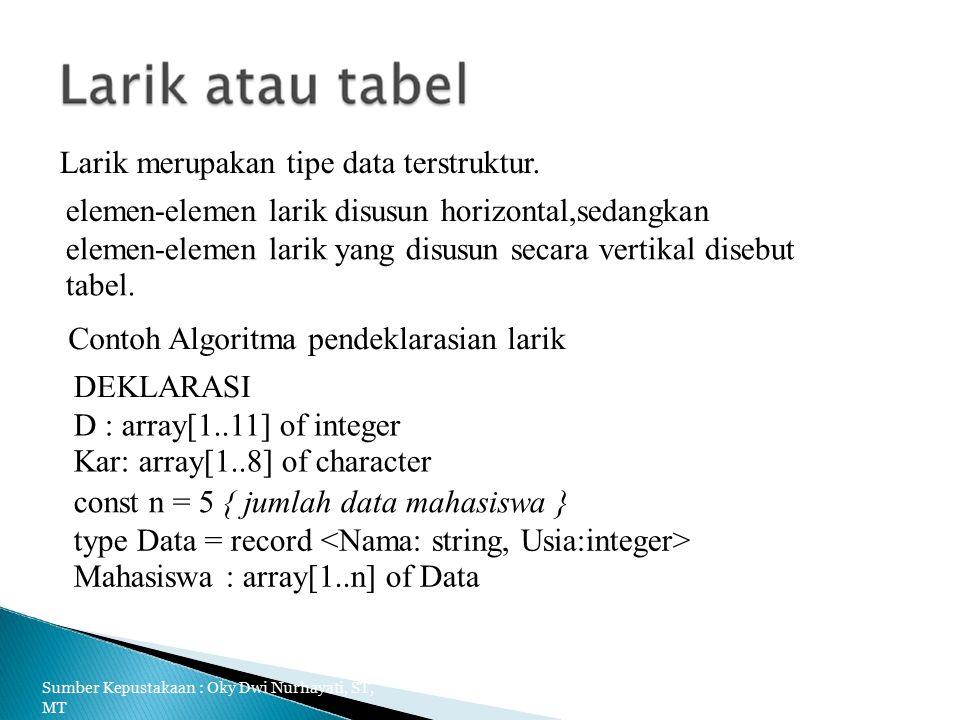 Larik merupakan tipe data terstruktur.