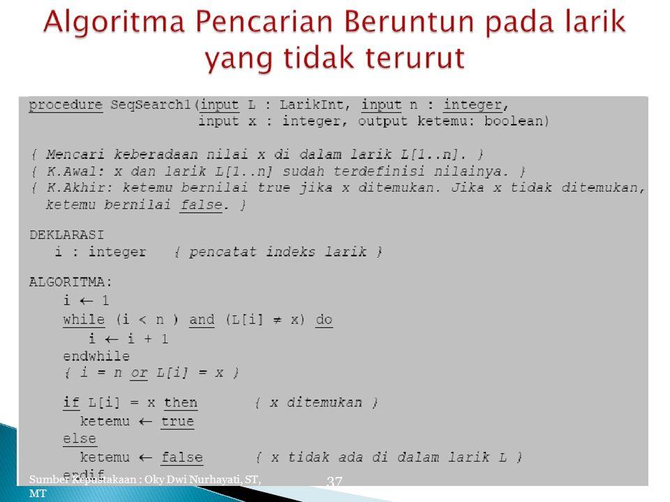 Sumber Kepustakaan : Oky Dwi Nurhayati, ST, MT 37