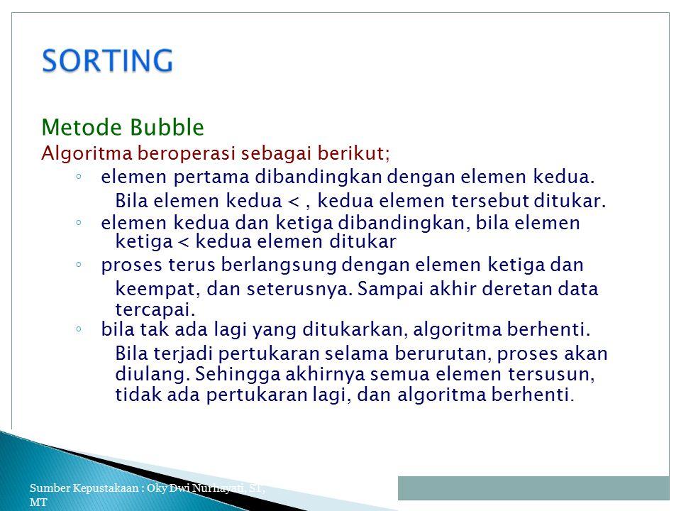 Metode Bubble Algoritma beroperasi sebagai berikut; ◦ elemen pertama dibandingkan dengan elemen kedua.