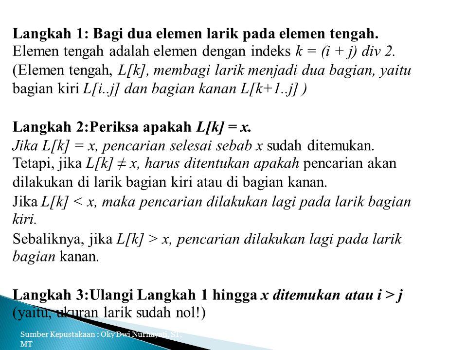 Langkah 1: Bagi dua elemen larik pada elemen tengah.
