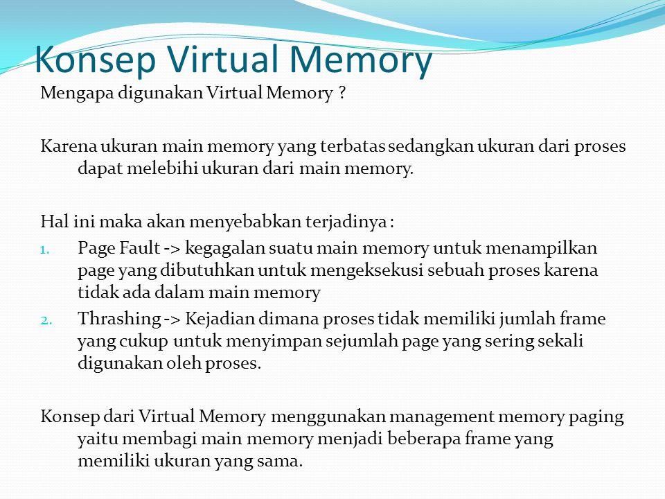 Konsep Virtual Memory Mengapa digunakan Virtual Memory ? Karena ukuran main memory yang terbatas sedangkan ukuran dari proses dapat melebihi ukuran da