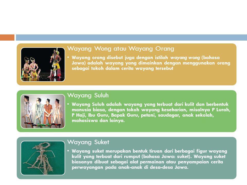 Wayang Wong atau Wayang Orang Wayang orang disebut juga dengan istilah wayang wong (bahasa Jawa) adalah wayang yang dimainkan dengan menggunakan orang