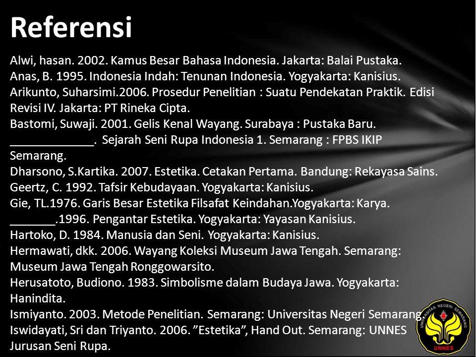 Referensi Alwi, hasan. 2002. Kamus Besar Bahasa Indonesia.