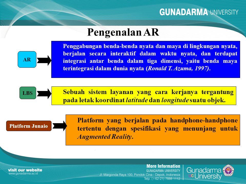 Pengenalan AR Penggabungan benda-benda nyata dan maya di lingkungan nyata, berjalan secara interaktif dalam waktu nyata, dan terdapat integrasi antar benda dalam tiga dimensi, yaitu benda maya terintegrasi dalam dunia nyata (Ronald T.