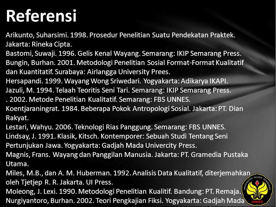 Referensi Arikunto, Suharsimi. 1998. Prosedur Penelitian Suatu Pendekatan Praktek. Jakarta: Rineka Cipta. Bastomi, Suwaji. 1996. Gelis Kenal Wayang. S