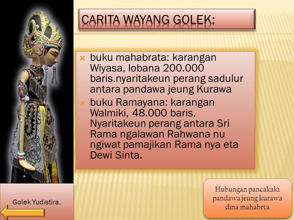  buku mahabrata: karangan Wiyasa, lobana 200.000 baris.nyaritakeun perang sadulur antara pandawa jeung Kurawa  buku Ramayana: karangan Walmiki, 48.000 baris.