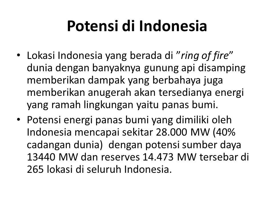 Potensi di Indonesia Lokasi Indonesia yang berada di ring of fire dunia dengan banyaknya gunung api disamping memberikan dampak yang berbahaya juga memberikan anugerah akan tersedianya energi yang ramah lingkungan yaitu panas bumi.