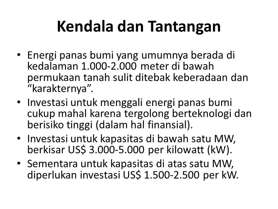 Kendala dan Tantangan Energi panas bumi yang umumnya berada di kedalaman 1.000-2.000 meter di bawah permukaan tanah sulit ditebak keberadaan dan karakternya .