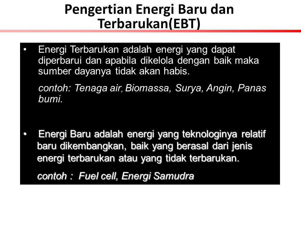 Pengertian Energi Baru dan Terbarukan(EBT) Energi Terbarukan adalah energi yang dapat diperbarui dan apabila dikelola dengan baik maka sumber dayanya