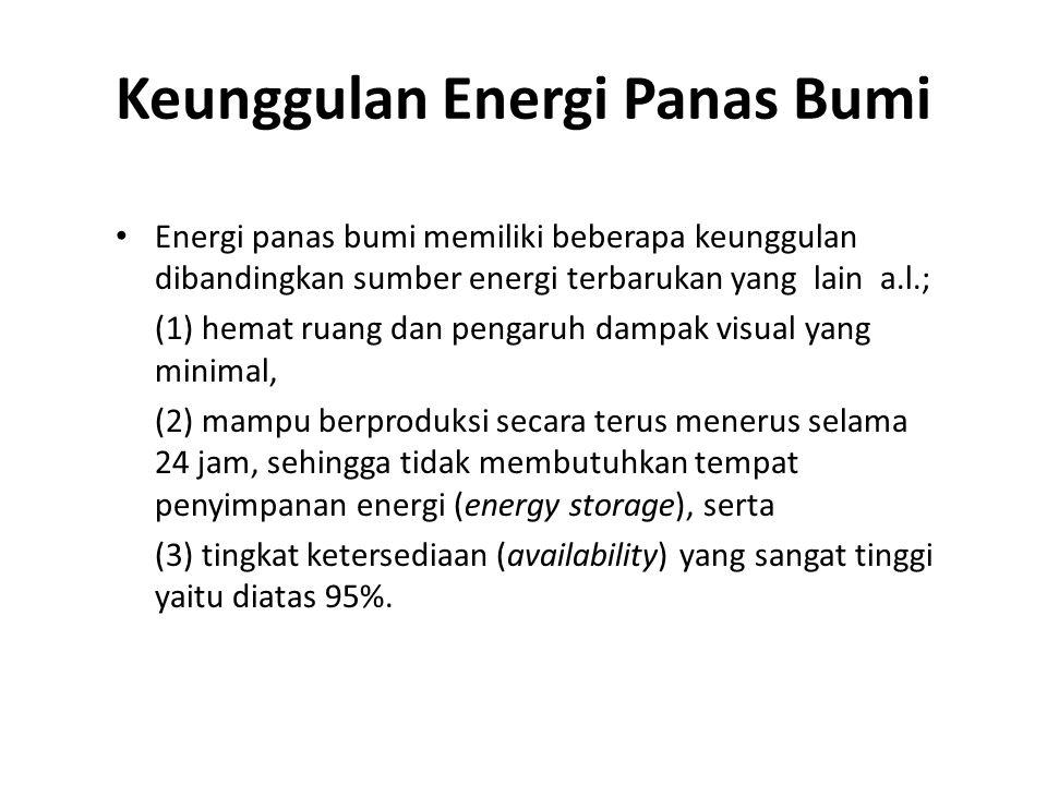 Keunggulan Energi Panas Bumi Energi panas bumi memiliki beberapa keunggulan dibandingkan sumber energi terbarukan yang lain a.l.; (1) hemat ruang dan pengaruh dampak visual yang minimal, (2) mampu berproduksi secara terus menerus selama 24 jam, sehingga tidak membutuhkan tempat penyimpanan energi (energy storage), serta (3) tingkat ketersediaan (availability) yang sangat tinggi yaitu diatas 95%.