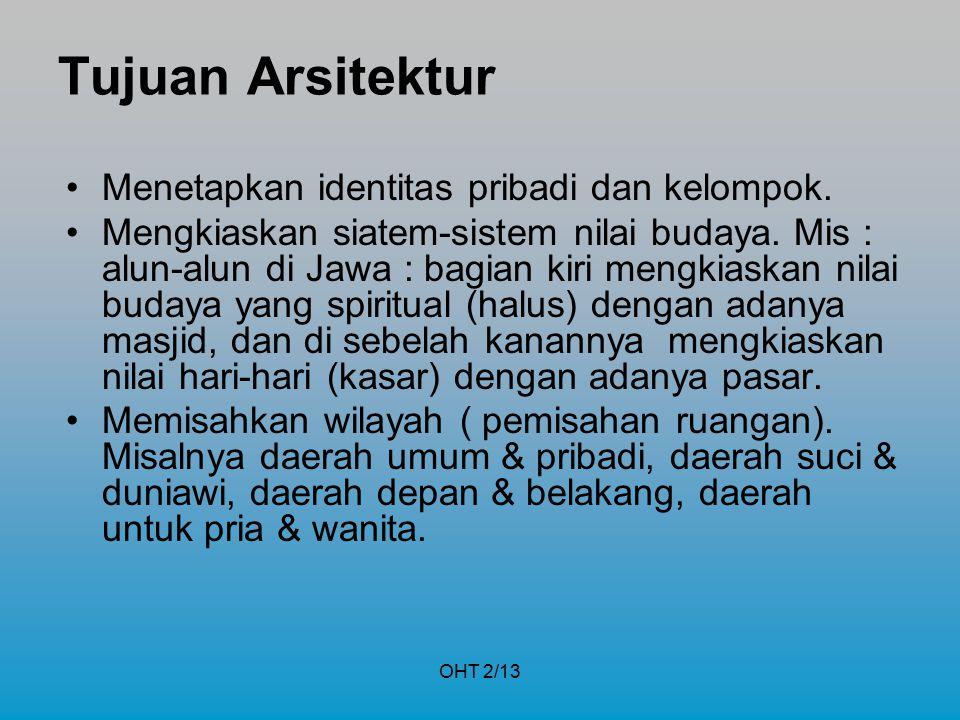 OHT 2/13 Tujuan Arsitektur Menetapkan identitas pribadi dan kelompok. Mengkiaskan siatem-sistem nilai budaya. Mis : alun-alun di Jawa : bagian kiri me