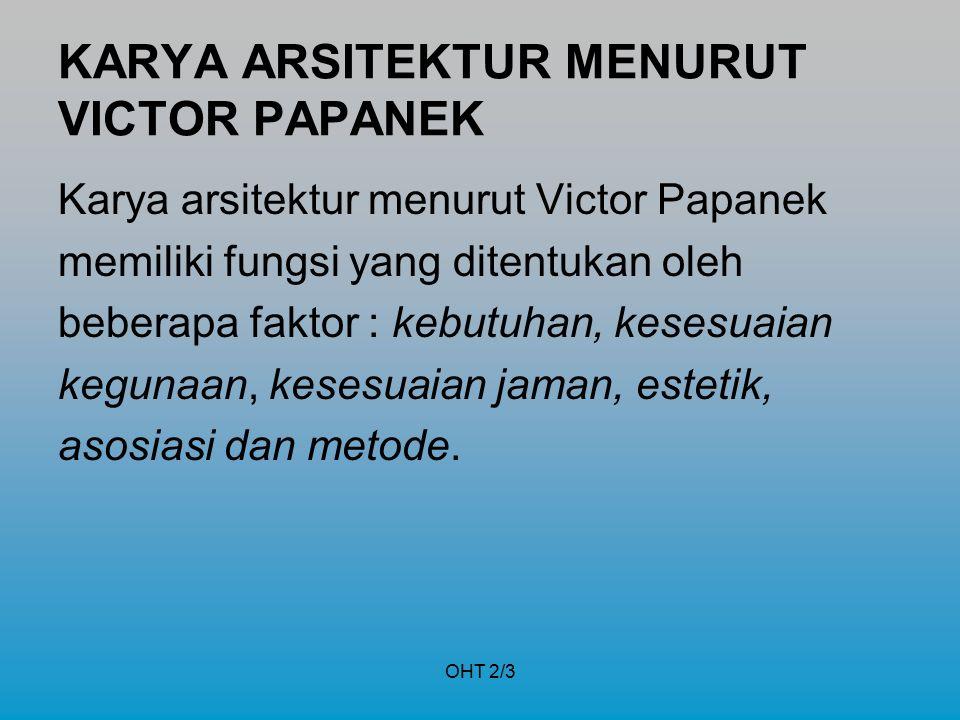 OHT 2/3 KARYA ARSITEKTUR MENURUT VICTOR PAPANEK Karya arsitektur menurut Victor Papanek memiliki fungsi yang ditentukan oleh beberapa faktor : kebutuh