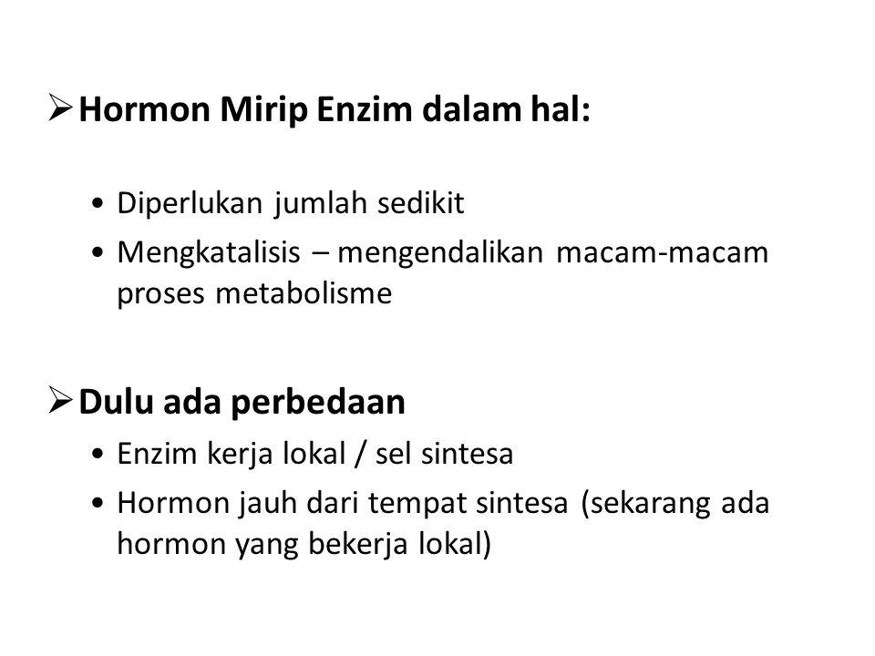  Hormon Mirip Enzim dalam hal: Diperlukan jumlah sedikit Mengkatalisis – mengendalikan macam-macam proses metabolisme  Dulu ada perbedaan Enzim kerja lokal / sel sintesa Hormon jauh dari tempat sintesa (sekarang ada hormon yang bekerja lokal)