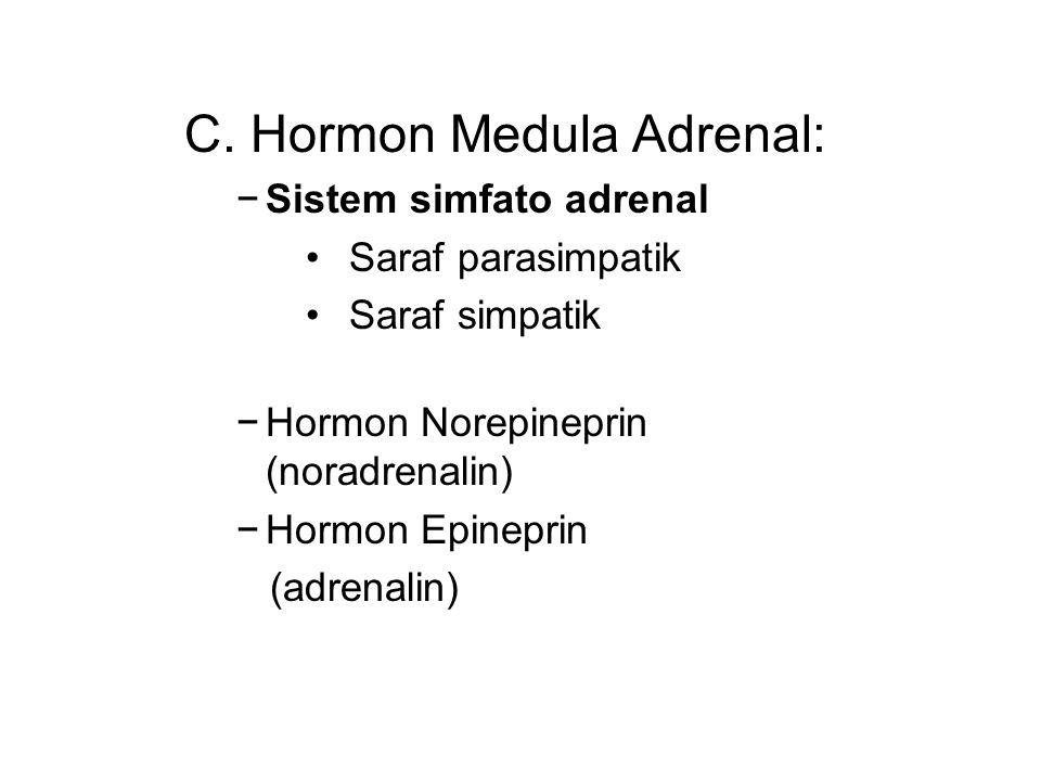 C. Hormon Medula Adrenal: −Sistem simfato adrenal Saraf parasimpatik Saraf simpatik −Hormon Norepineprin (noradrenalin) −Hormon Epineprin (adrenalin)