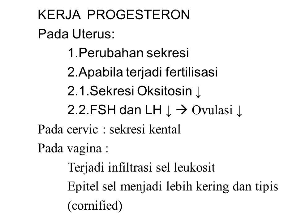 KERJA PROGESTERON Pada Uterus: 1.Perubahan sekresi 2.Apabila terjadi fertilisasi 2.1.Sekresi Oksitosin ↓ 2.2.FSH dan LH ↓  Ovulasi ↓ Pada cervic : sekresi kental Pada vagina : Terjadi infiltrasi sel leukosit Epitel sel menjadi lebih kering dan tipis (cornified)