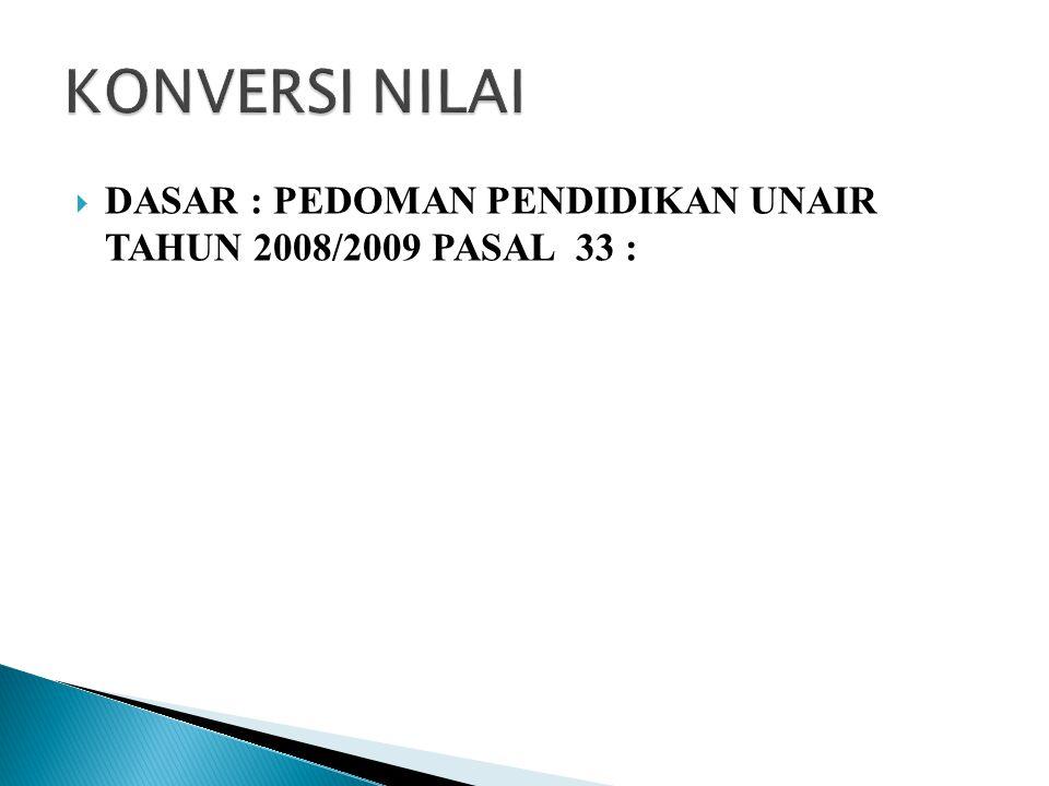  DASAR : PEDOMAN PENDIDIKAN UNAIR TAHUN 2008/2009 PASAL 33 :
