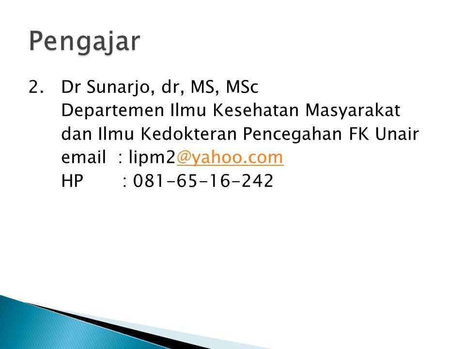 2. Dr Sunarjo, dr, MS, MSc Departemen Ilmu Kesehatan Masyarakat dan Ilmu Kedokteran Pencegahan FK Unair email : lipm2@yahoo.com@yahoo.com HP : 081-65-