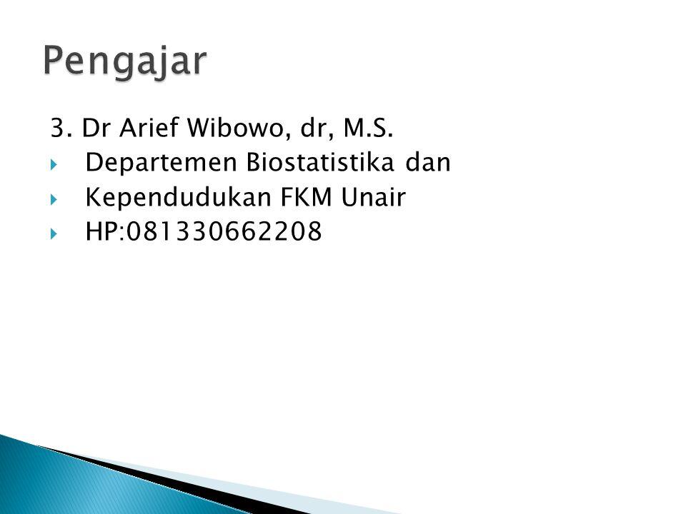 3. Dr Arief Wibowo, dr, M.S.  Departemen Biostatistika dan  Kependudukan FKM Unair  HP:081330662208