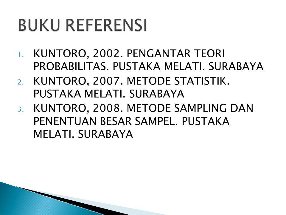 1. KUNTORO, 2002. PENGANTAR TEORI PROBABILITAS. PUSTAKA MELATI. SURABAYA 2. KUNTORO, 2007. METODE STATISTIK. PUSTAKA MELATI. SURABAYA 3. KUNTORO, 2008