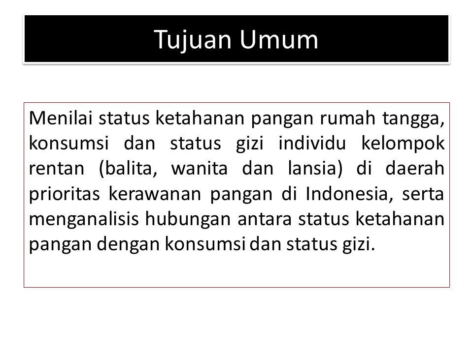 Tujuan Khusus 1.Mengidentifikasi karakteristik sosial ekonomi rumah tangga di kabupaten prioritas kerawanan pangan di Indonesia (usia KK dan pasangan, jumlah anggota keluarga, pendidikan KK dan pasangan, pekerjaan KK dan pasangan, pendapatan rumah tangga, pengeluaran rumah tangga) 2.Menilai status ketahanan pangan rumah tangga 3.Menghitung skor diversifikasi pangan (SDP) rumah tangga 4.Mengidentifikasi karakteristik individu (umur, jenis kelamin, pendidikan, pekerjaan) kelompok rentan di rumah tangga (balita, wanita, dan lansia)