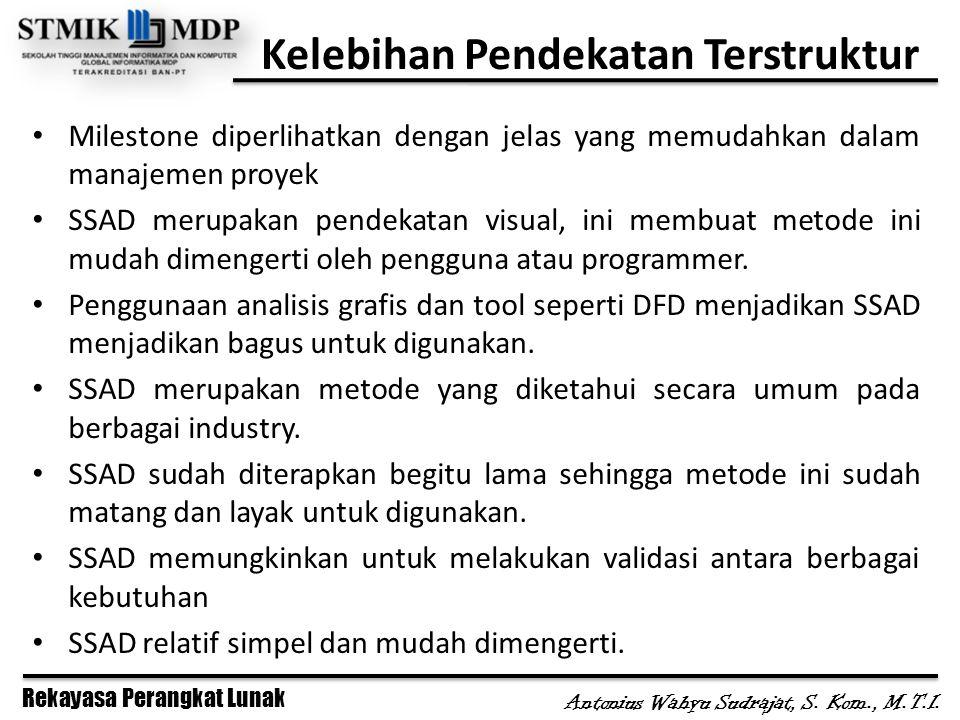 Rekayasa Perangkat Lunak Antonius Wahyu Sudrajat, S. Kom., M.T.I. Kelebihan Pendekatan Terstruktur Milestone diperlihatkan dengan jelas yang memudahka