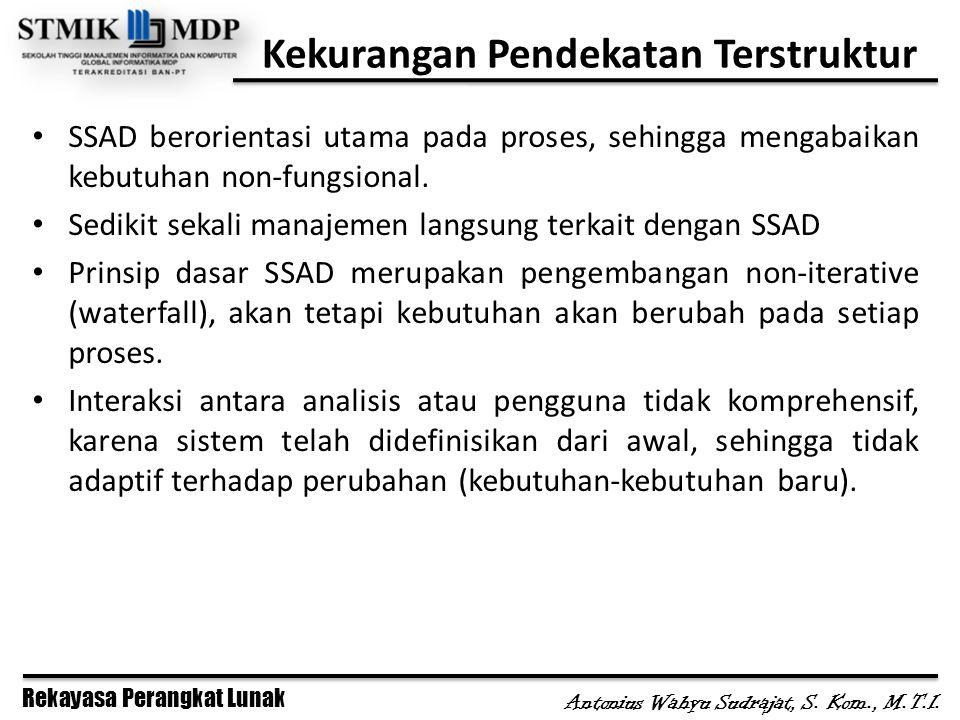 Rekayasa Perangkat Lunak Antonius Wahyu Sudrajat, S. Kom., M.T.I. Kekurangan Pendekatan Terstruktur SSAD berorientasi utama pada proses, sehingga meng