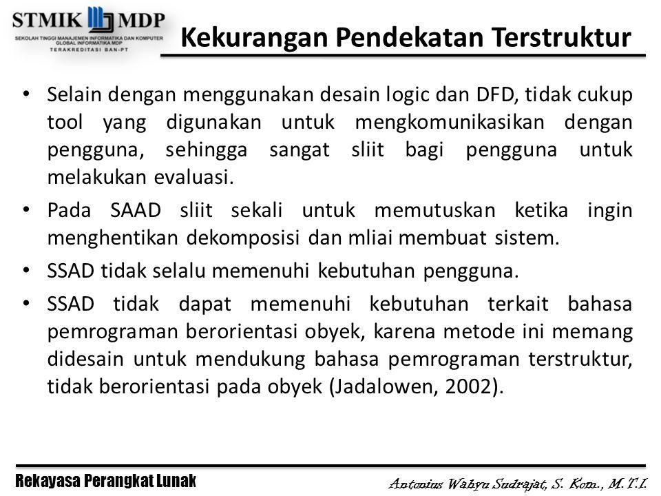 Rekayasa Perangkat Lunak Antonius Wahyu Sudrajat, S. Kom., M.T.I. Kekurangan Pendekatan Terstruktur Selain dengan menggunakan desain logic dan DFD, ti