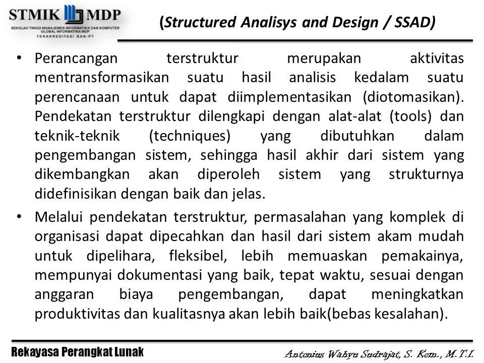 Rekayasa Perangkat Lunak Antonius Wahyu Sudrajat, S. Kom., M.T.I. (Structured Analisys and Design / SSAD) Perancangan terstruktur merupakan aktivitas