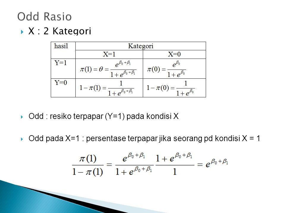  X : 2 Kategori  Odd : resiko terpapar (Y=1) pada kondisi X  Odd pada X=1 : persentase terpapar jika seorang pd kondisi X = 1