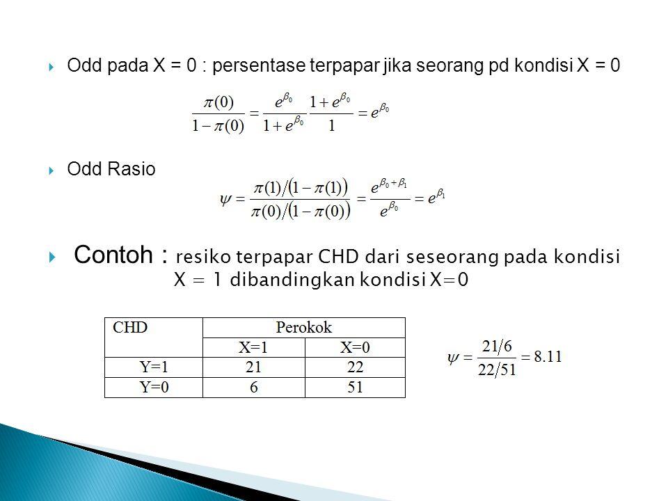  Odd pada X = 0 : persentase terpapar jika seorang pd kondisi X = 0  Odd Rasio  Contoh : resiko terpapar CHD dari seseorang pada kondisi X = 1 dibandingkan kondisi X=0