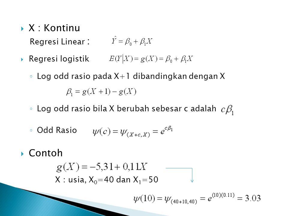  X : Kontinu Regresi Linear :  Regresi logistik ◦ Log odd rasio pada X+1 dibandingkan dengan X ◦ Log odd rasio bila X berubah sebesar c adalah ◦ Odd Rasio  Contoh X : usia, X 0 =40 dan X 1 =50