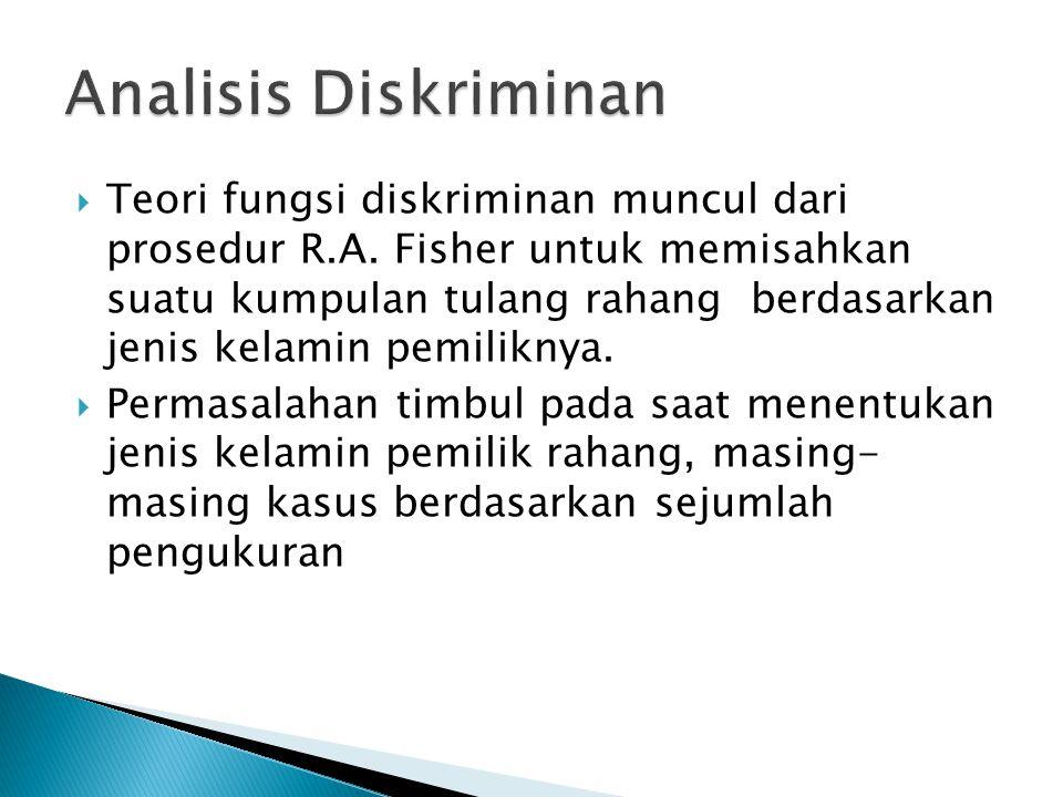  Teori fungsi diskriminan muncul dari prosedur R.A.