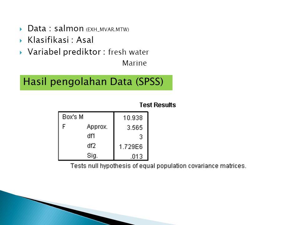  Data : salmon (EXH_MVAR.MTW)  Klasifikasi : Asal  Variabel prediktor : fresh water Marine Hasil pengolahan Data (SPSS)