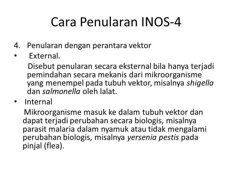Cara Penularan INOS-4 4.Penularan dengan perantara vektor External. Disebut penularan secara eksternal bila hanya terjadi pemindahan secara mekanis da