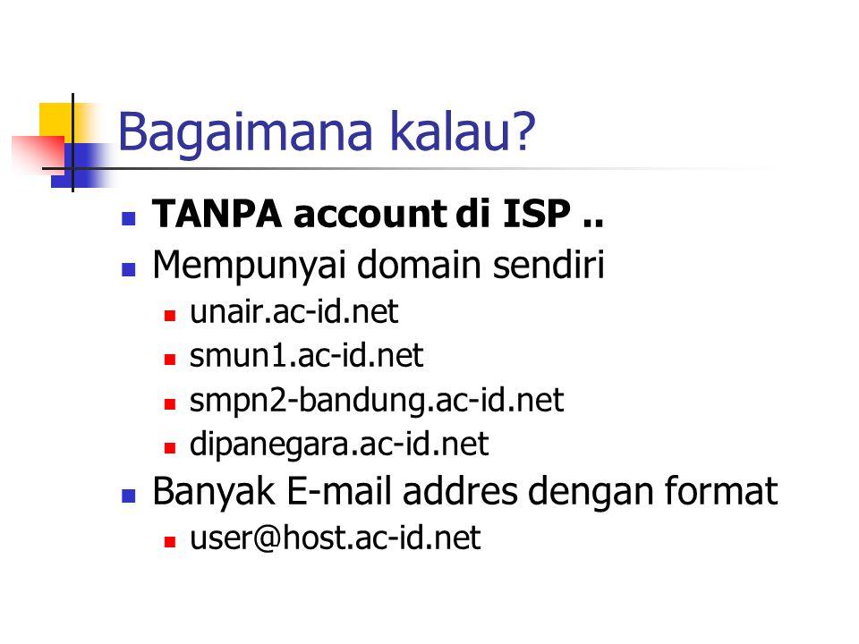 Bagaimana kalau? TANPA account di ISP.. Mempunyai domain sendiri unair.ac-id.net smun1.ac-id.net smpn2-bandung.ac-id.net dipanegara.ac-id.net Banyak E