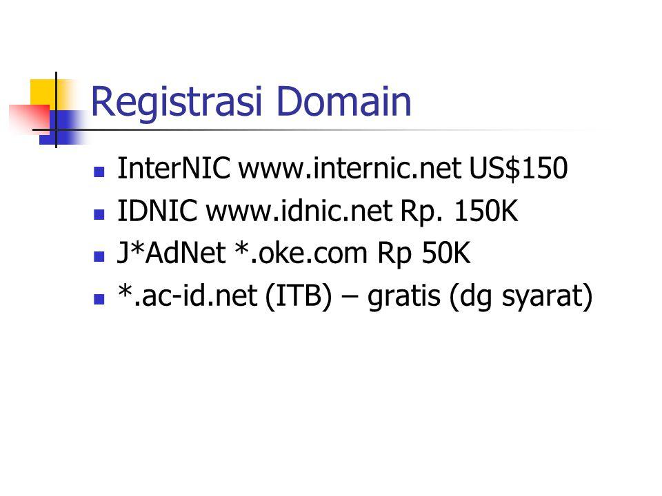 Registrasi Domain InterNIC www.internic.net US$150 IDNIC www.idnic.net Rp. 150K J*AdNet *.oke.com Rp 50K *.ac-id.net (ITB) – gratis (dg syarat)